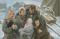 Pioneer Family Kneeling in Snow
