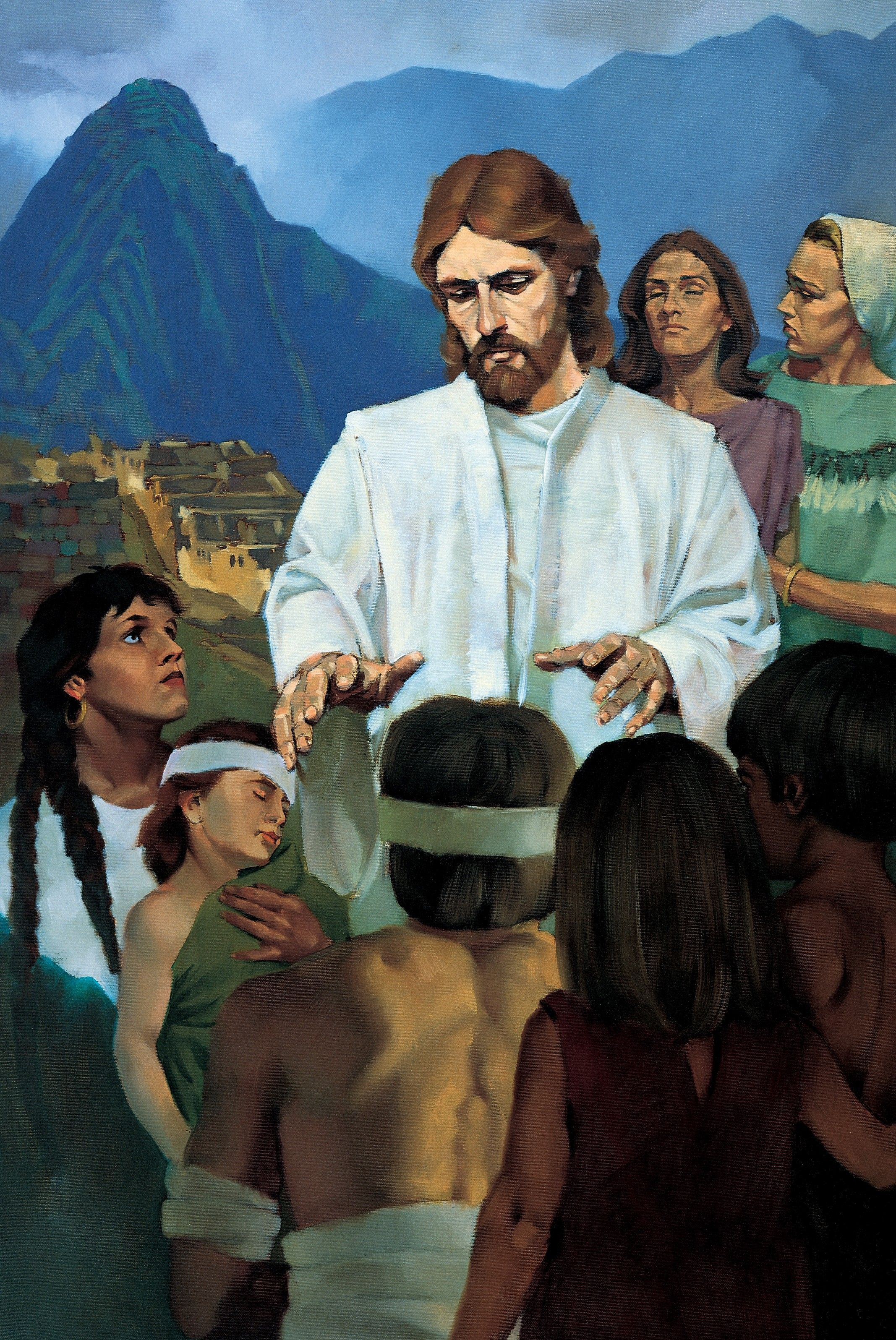Jesus Healing the Nephites, by Ted Henninger (62541); GAK 317; Primary manual 4-46; 3 Nephi 17:5–10