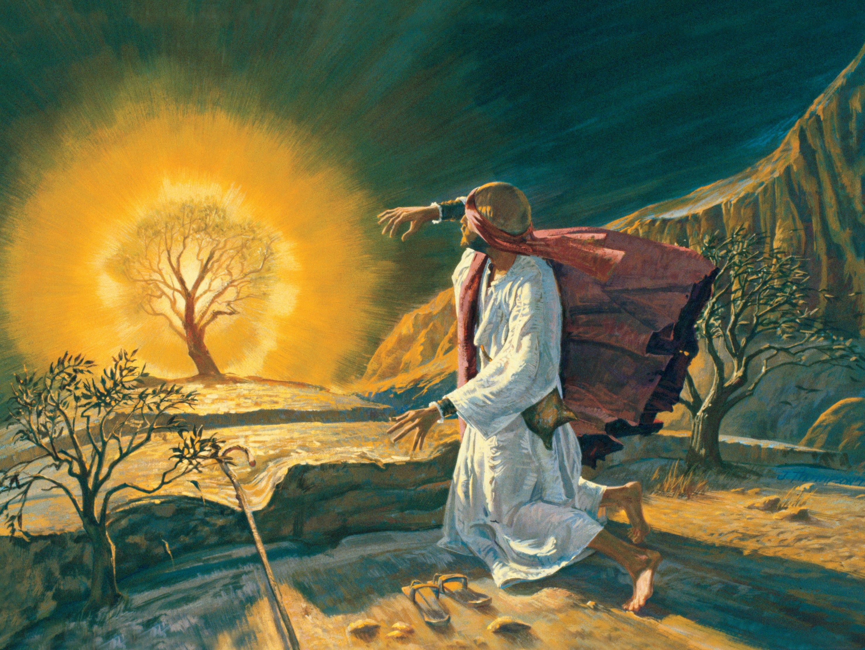 Moses and the Burning Bushes, by Jerry Thompson; GAK 107; Primary manual 1-66; Primary manual 6-23; Exodus 3:1–4:17; Acts 7:30–33