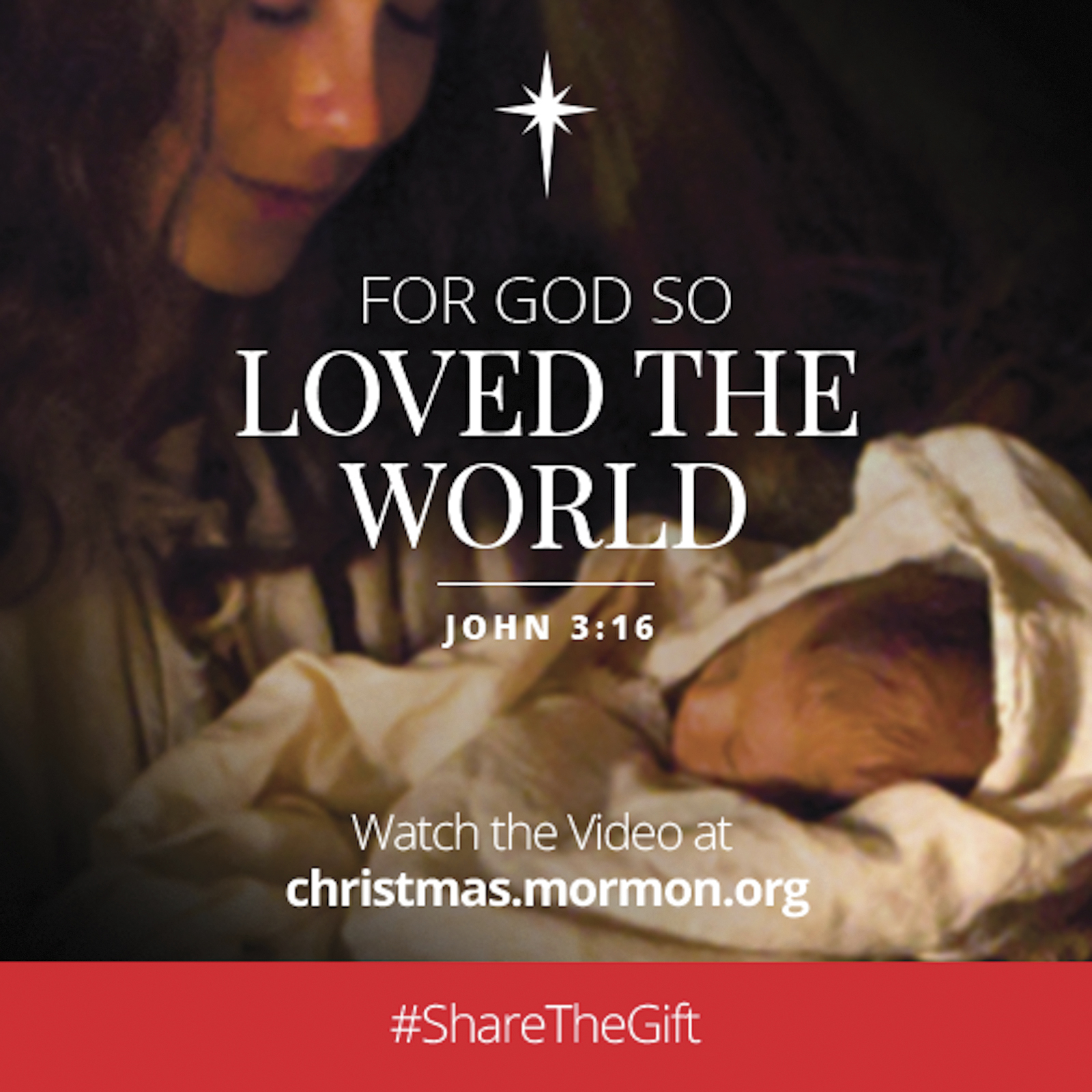 """""""For God so loved the world.""""—John 3:16. Watch the video at christmas.mormon.org. #ShareTheGift"""