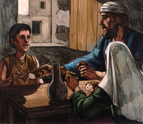 Elijah eating with widow