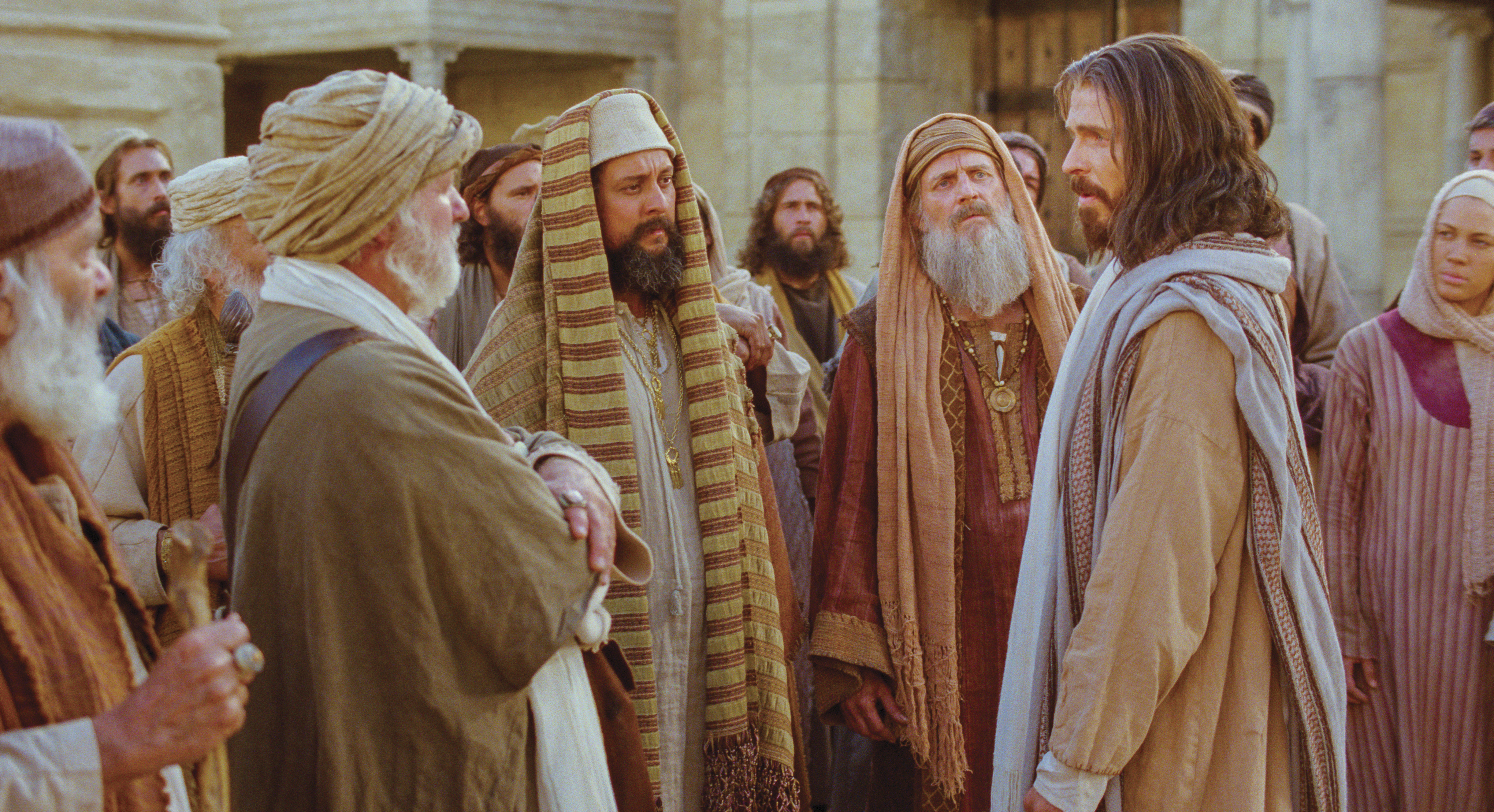 The Pharisees confront Jesus.