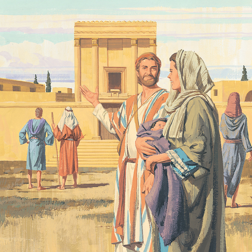 Joseph, Mary, and baby Jesus at temple