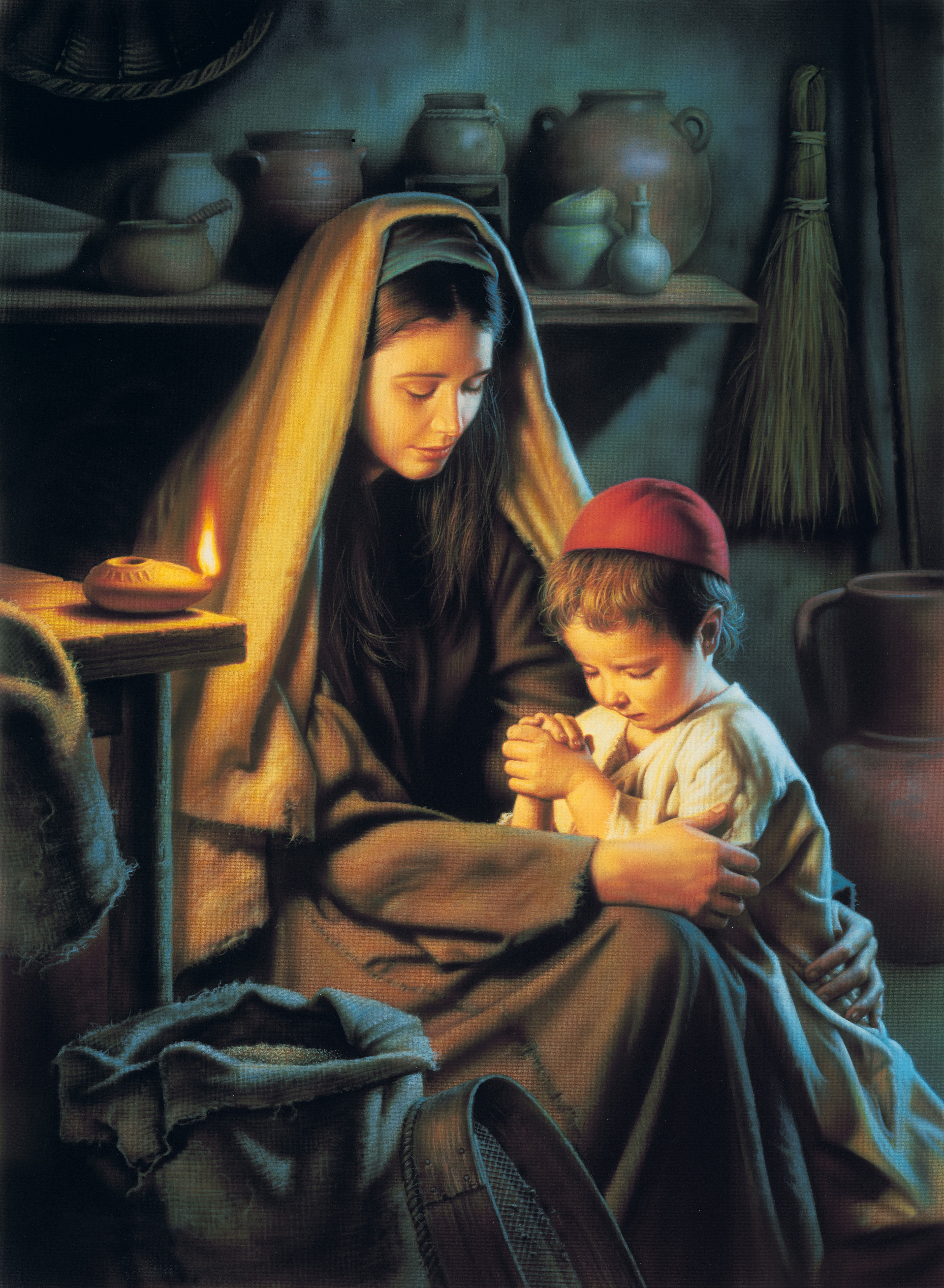 In Favour with God (Jesus Praying with His Mother), by Simon Dewey; GAB 33; nursery manual lesson 3, page 18; Luke 2:40, 51–52; John 19:26–27