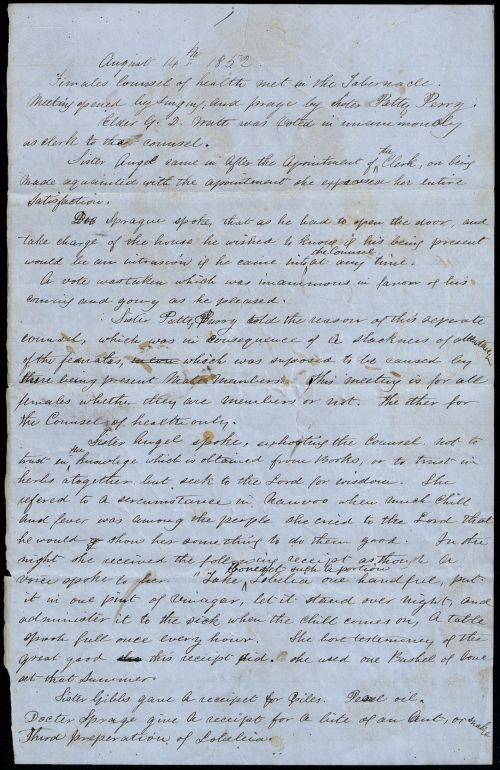 Female Council of Health Minutes, 14 August 1852