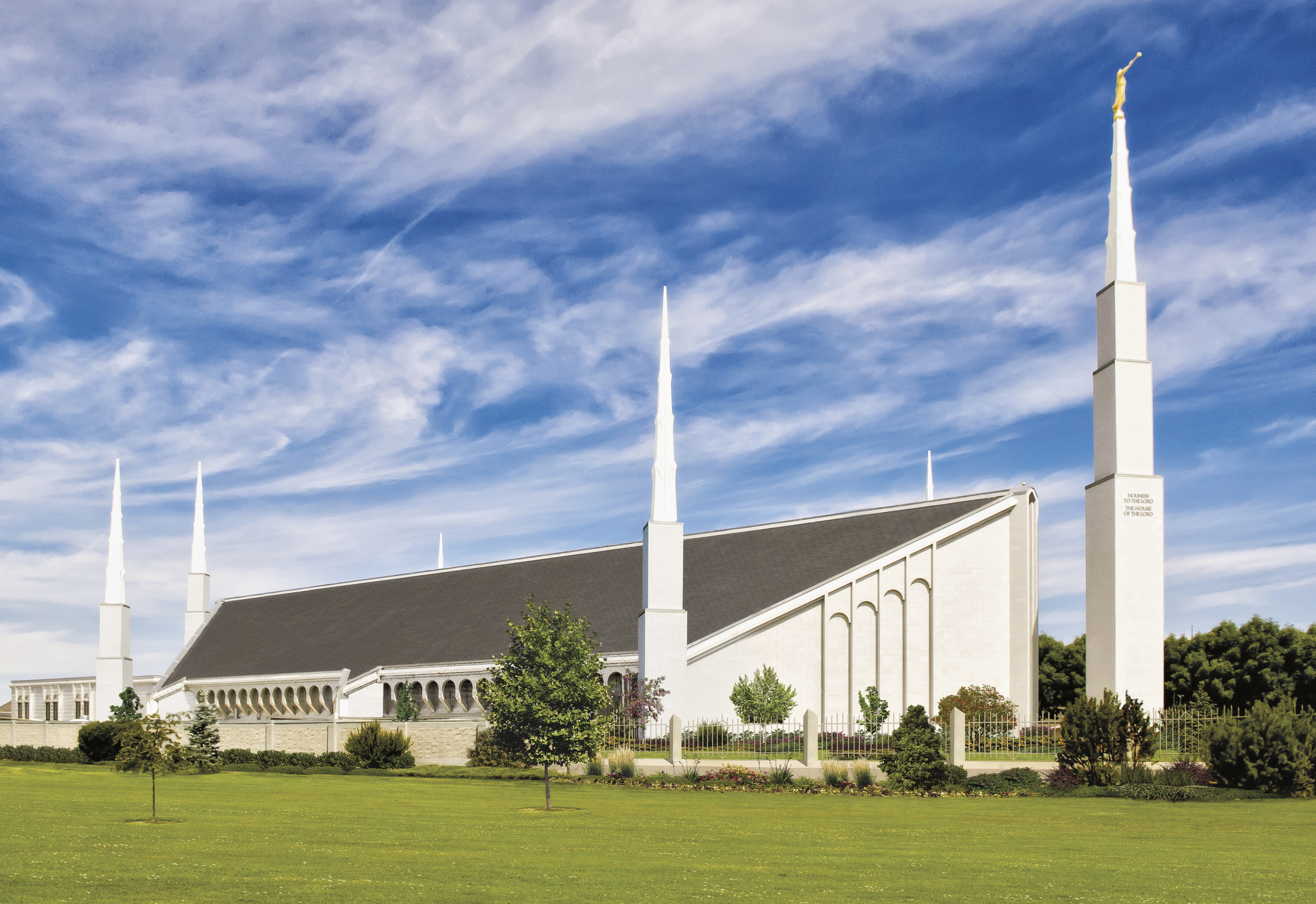 One side of the Boise Idaho Temple, surrounded by six spires.