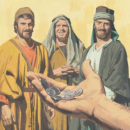 man giving three servants money