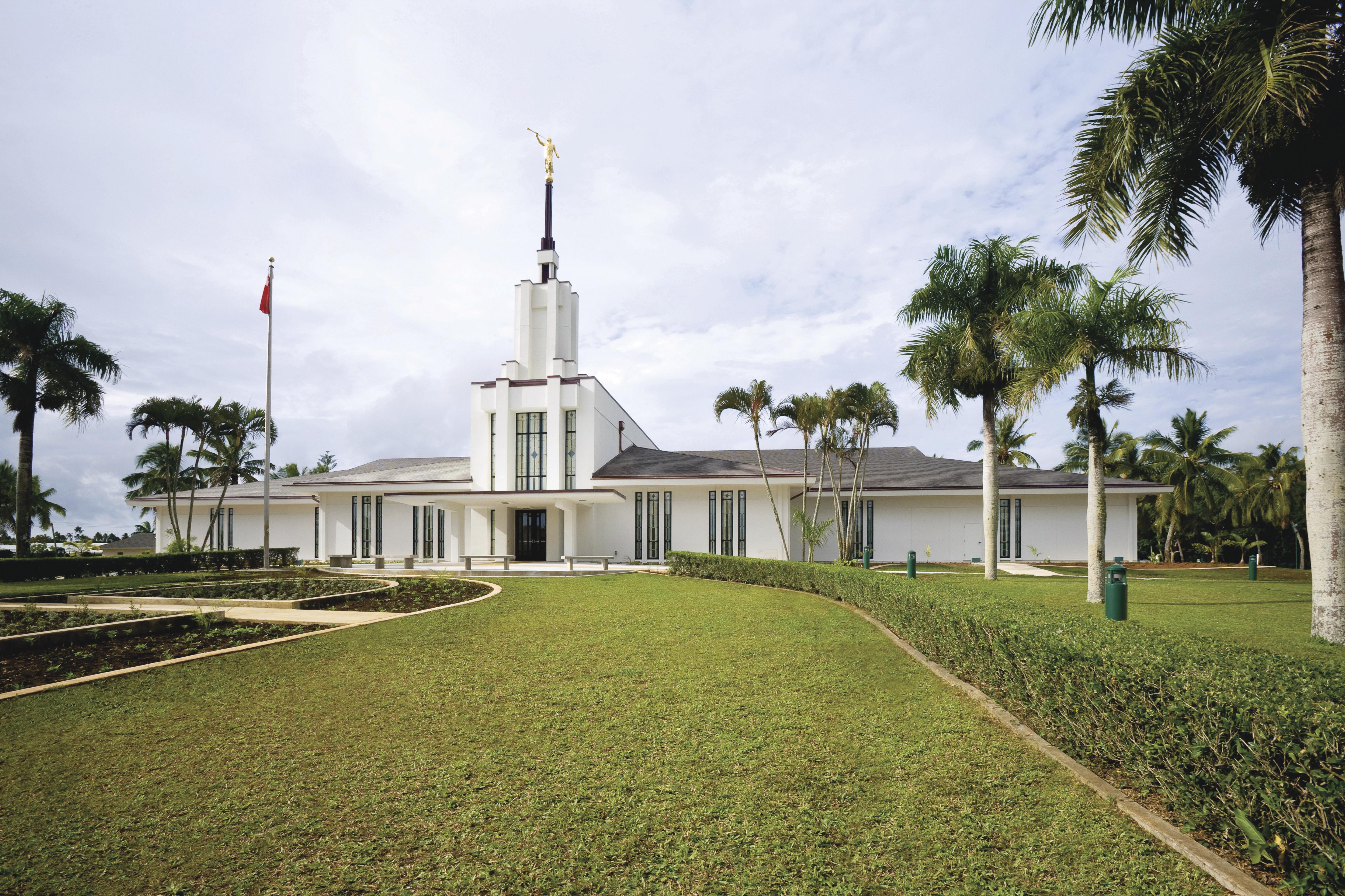The Nuku'alofa Tonga Temple, including the entrance and scenery.