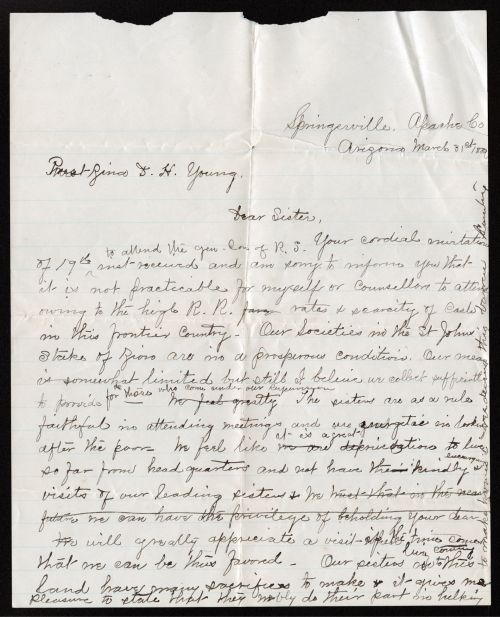 Letter from Eliza Stwart Udall to Zina D. H. Young