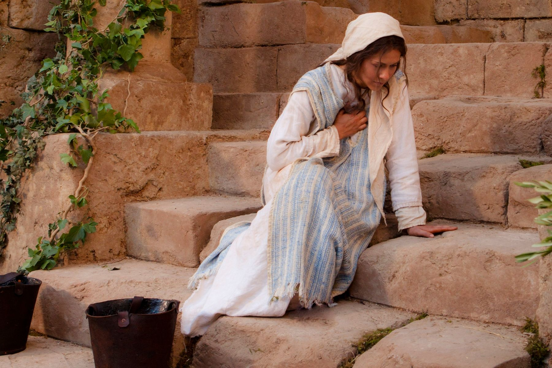 Mary reacts to the message from the angel Gabriel, who told her of Christ's birth.
