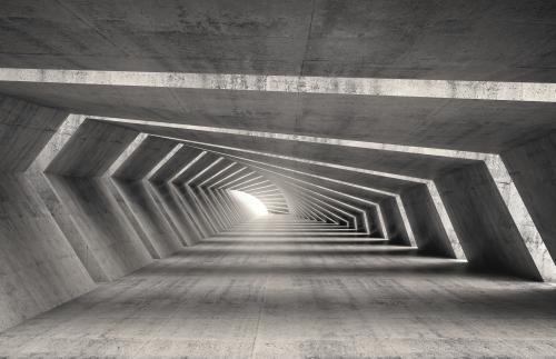 Abstract illuminated 3d empty bent concrete corridor interior