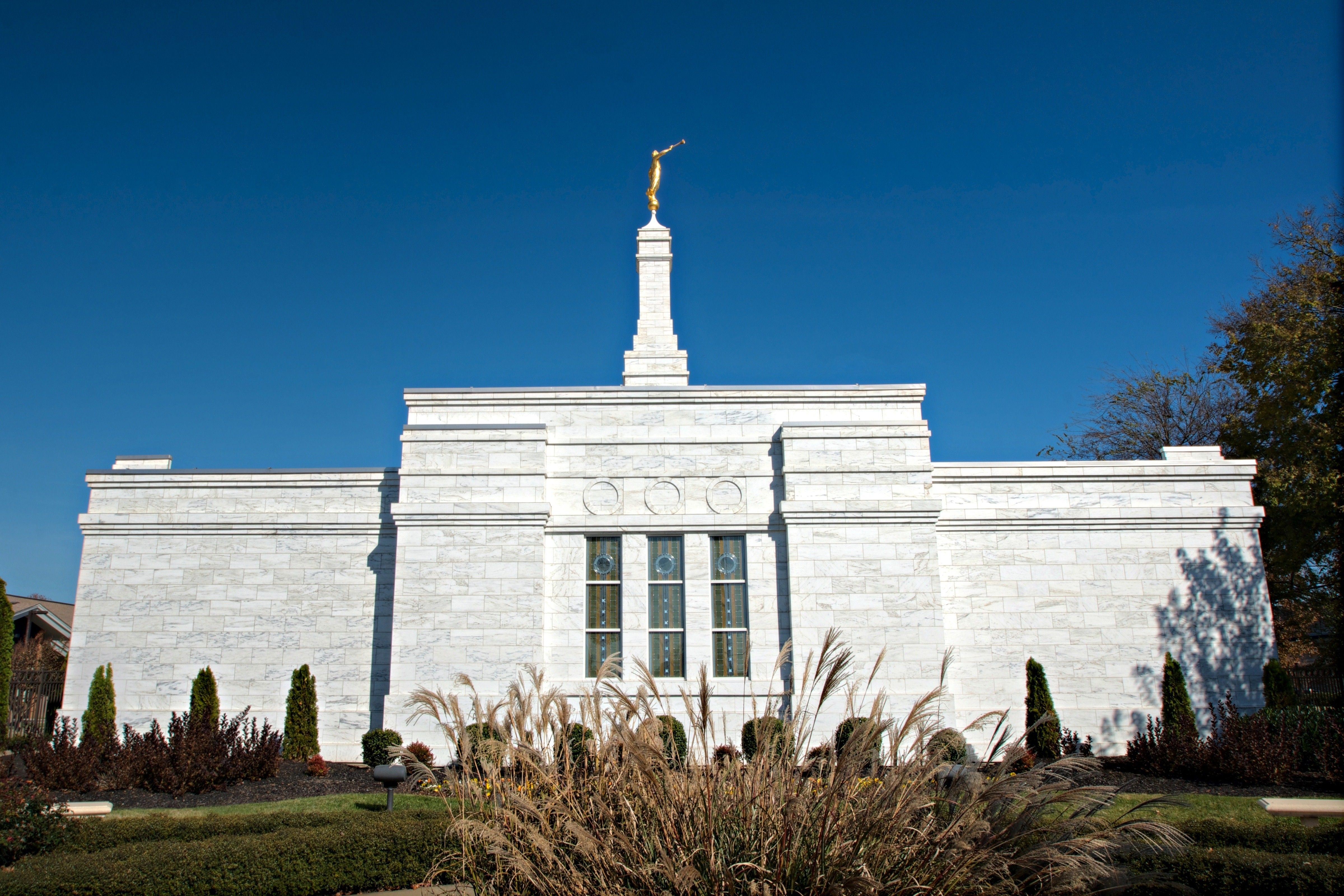 The Nashville Tennessee Temple side view, including scenery and the exterior of the temple.