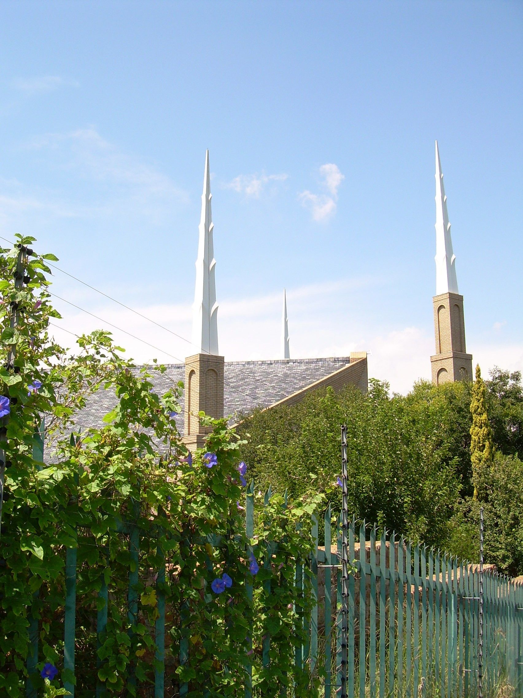 The Johannesburg South Africa Temple spires, including scenery and the exterior of the temple.