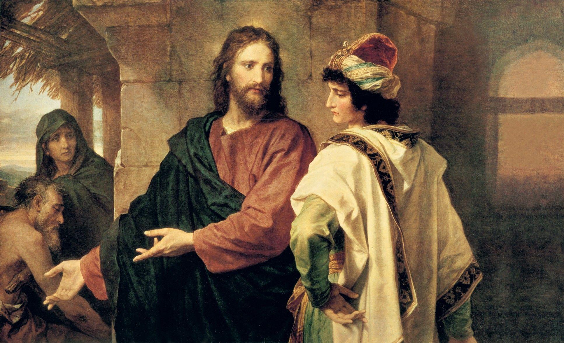 Christ and the Rich Young Ruler, by Heinrich Hofmann; GAK 244; GAB 48; Matthew 19:16–26; Mark 10:17–27; Luke 18:18–27