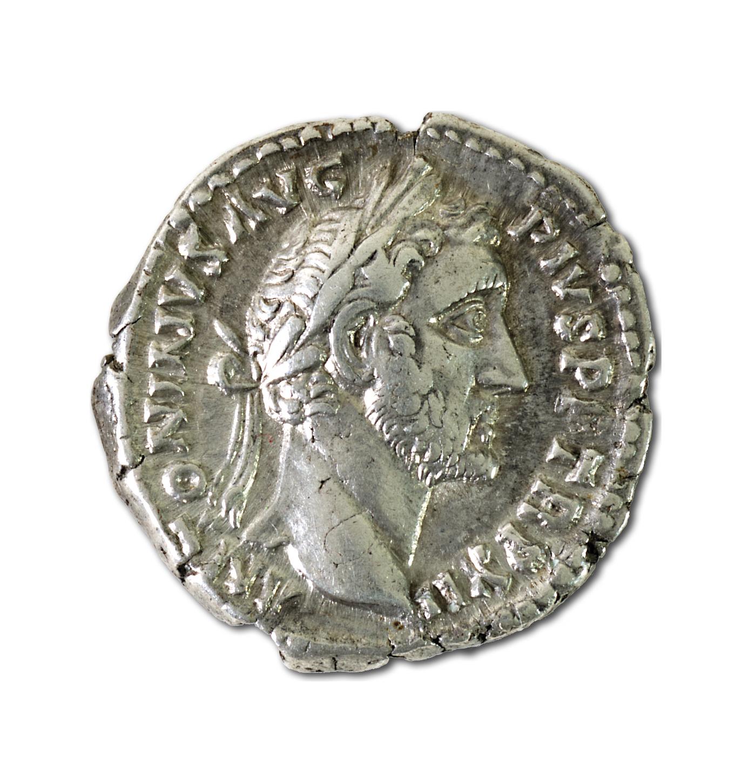 A small silver Roman coin.