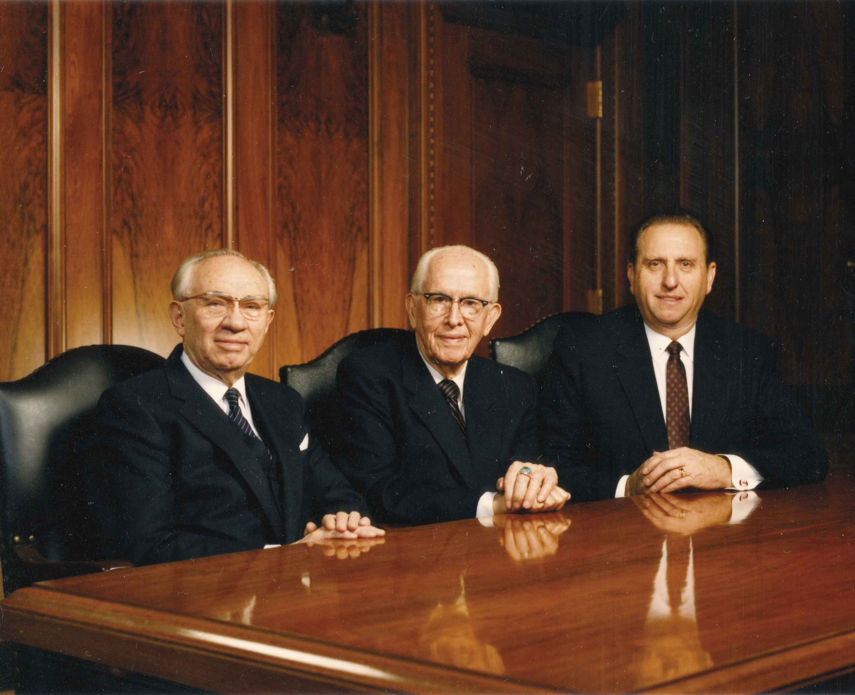 President Benson sitting by his counselors in the First Presidency, President Hinckley and President Monson. Teachings of Presidents of the Church: Ezra Taft Benson (2014), 31