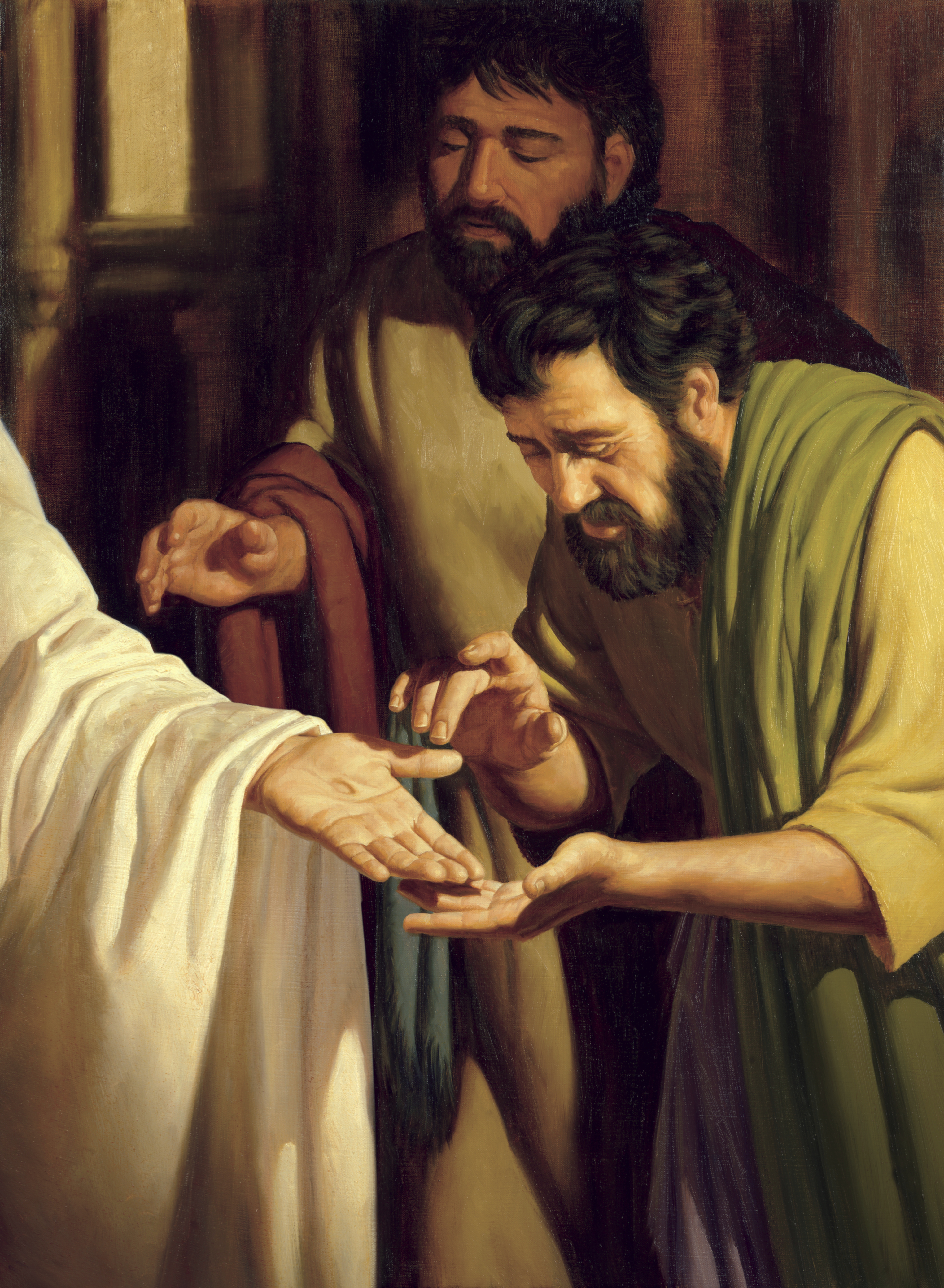 A painting by Jeff Ward depicting two of Christ's Apostles looking at the wounds in His hands.