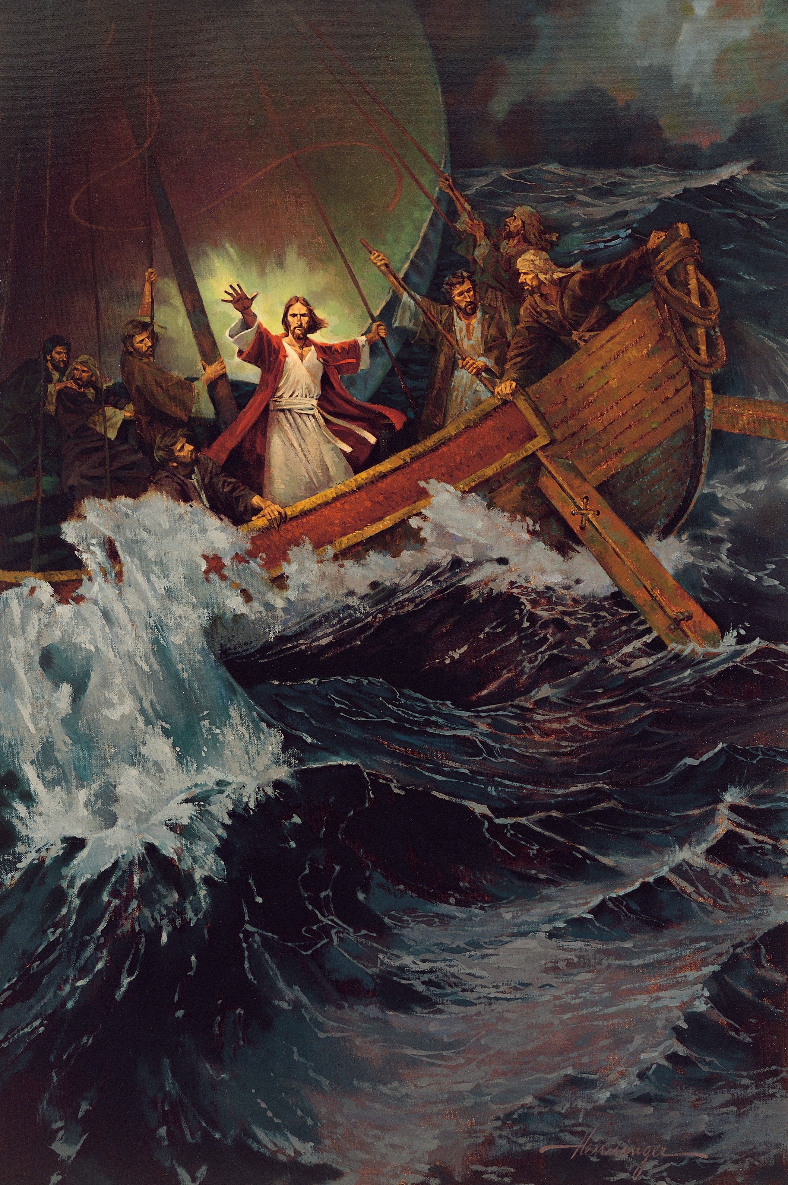 Stilling the Storm, by Ted Henninger (62139); GAK 214; Primary manual 2-28; Primary manual 7-15; Matthew 8:23–27; Mark 4:36–41; Luke 8:22–25