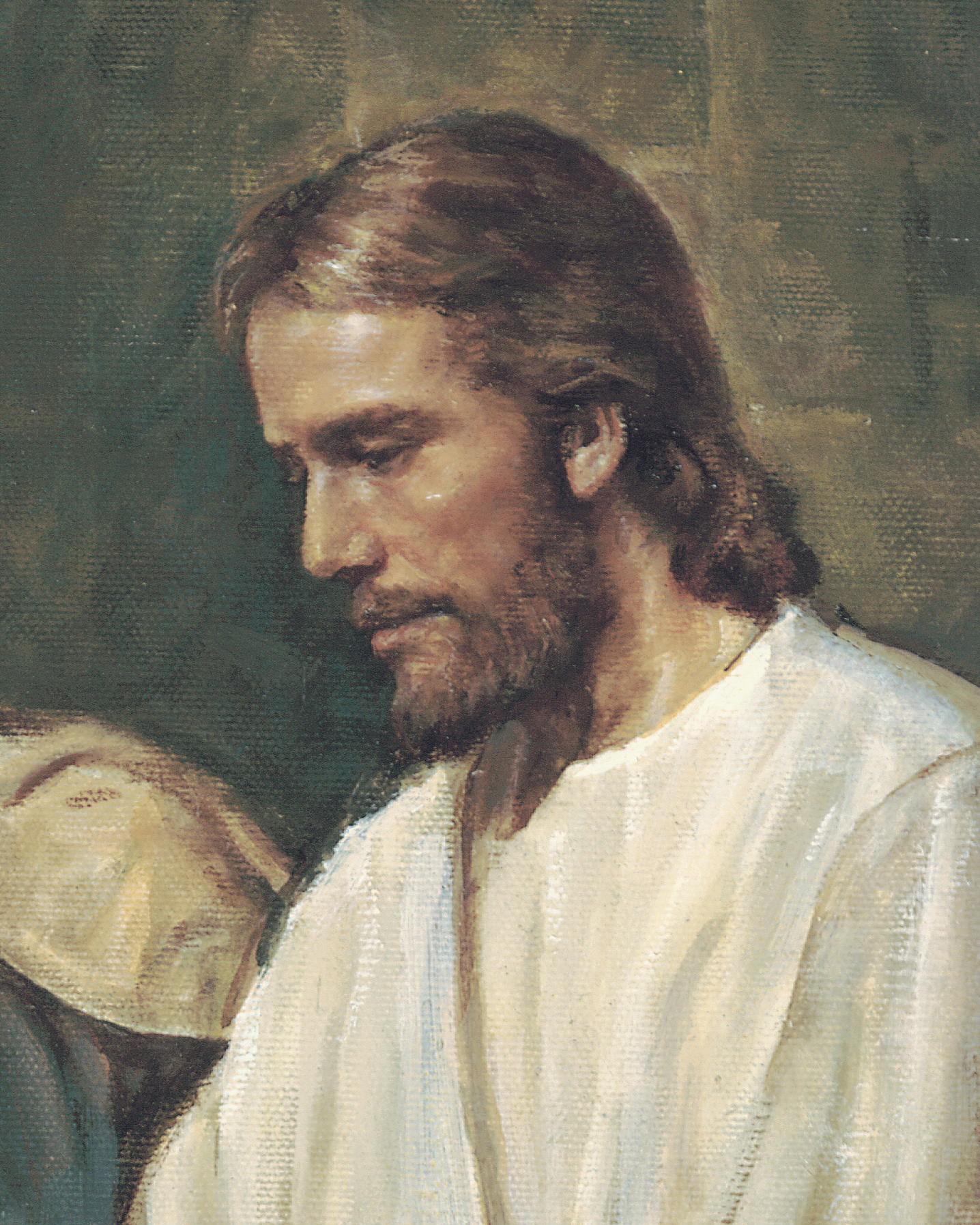 Detail of the Savior's face from the painting Christ Healing a Blind Man, by Del Parson