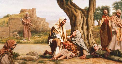 Cristo sana a una mujer enferma