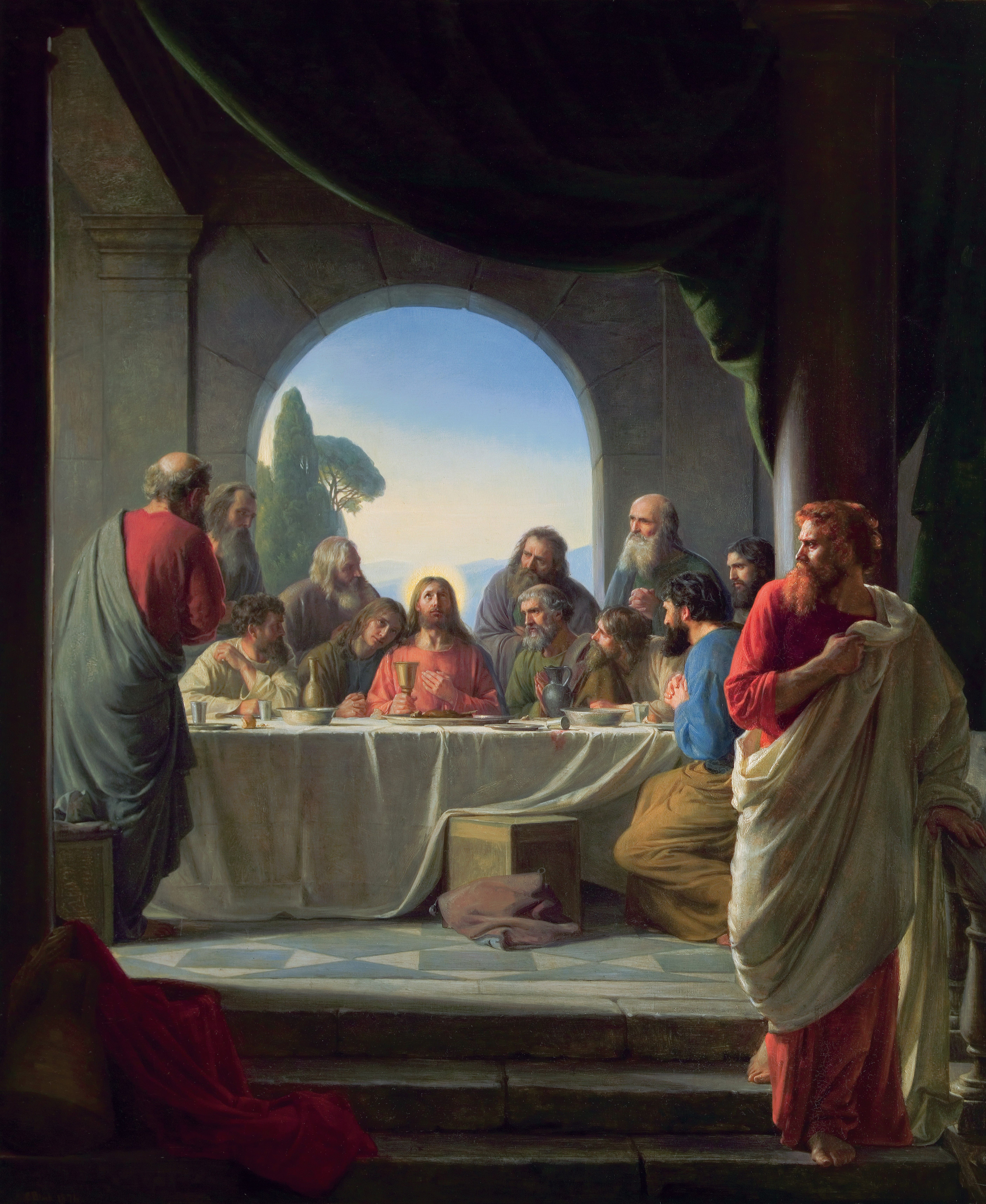 The Last Supper, by Carl Heinrich Bloch (62174); GAK 225; Primary manual 1-70; Primary manual 2-54; Primary manual 3-22; Primary manual 7-29; Matthew 26:17–30; Mark 14:12–26; Luke 22:7–23, 39; John 13:1, 23–35; 14–17; 18:1; Joseph Smith Translation, Matthew 26:22–24 (in the Bible appendix)
