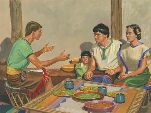 Amulek feeding Alma