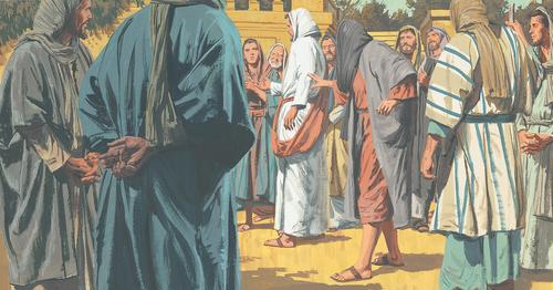 woman touching Jesus's robe