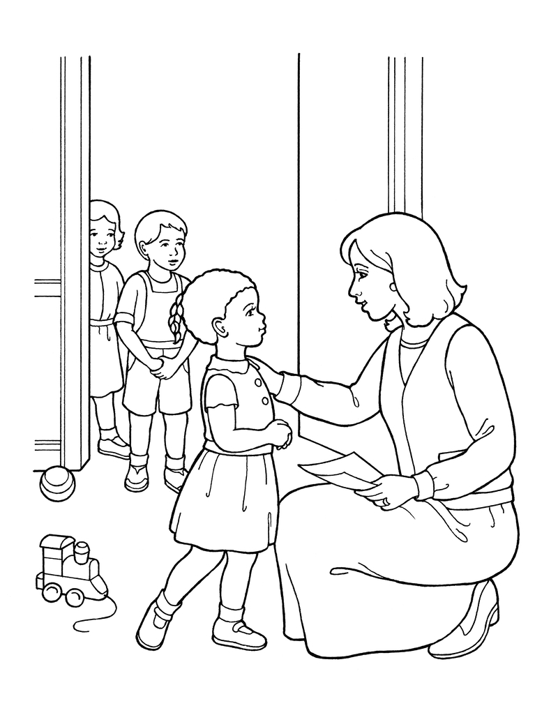 A black-and-white illustration of a nursery leader greeting a small girl with toys on the floor and two other children standing in the doorway.