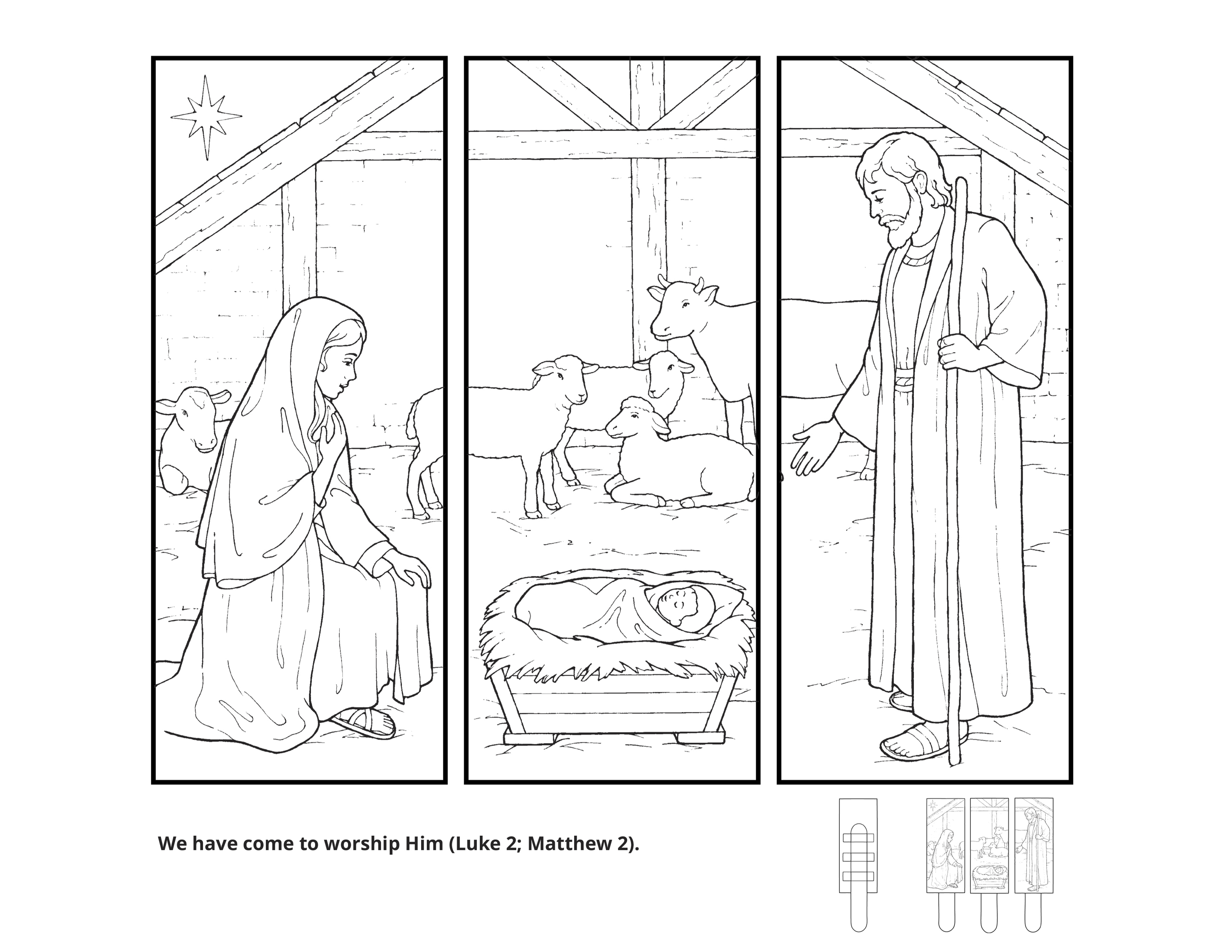 """""""We have come to worship Him (Luke 2; Matthew 2)."""" An illustration of the Nativity."""