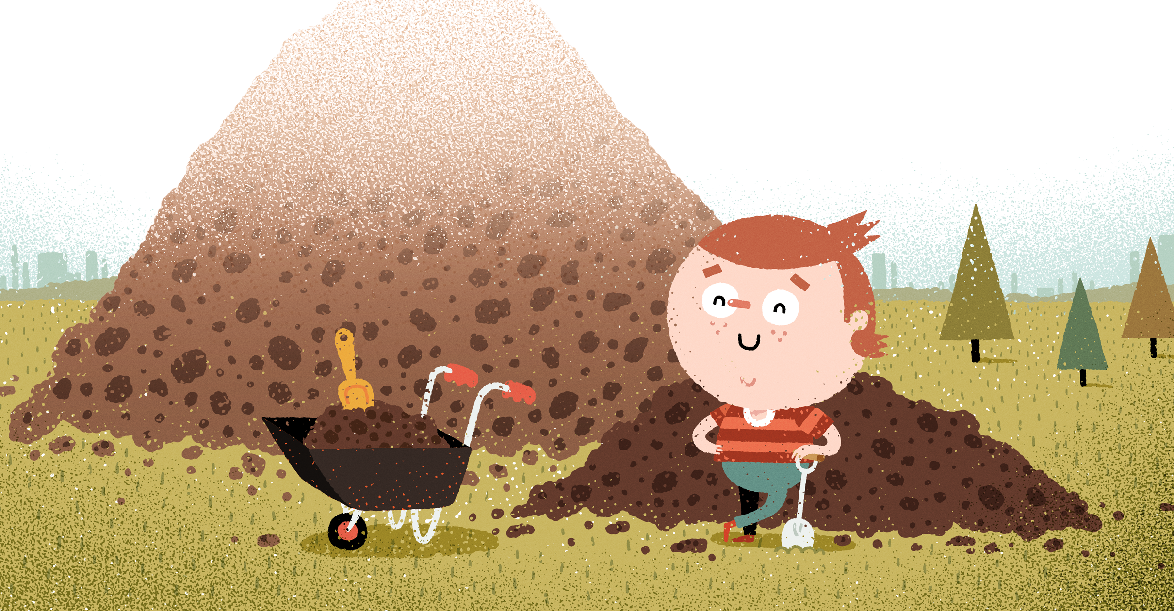 boy with dirt piles
