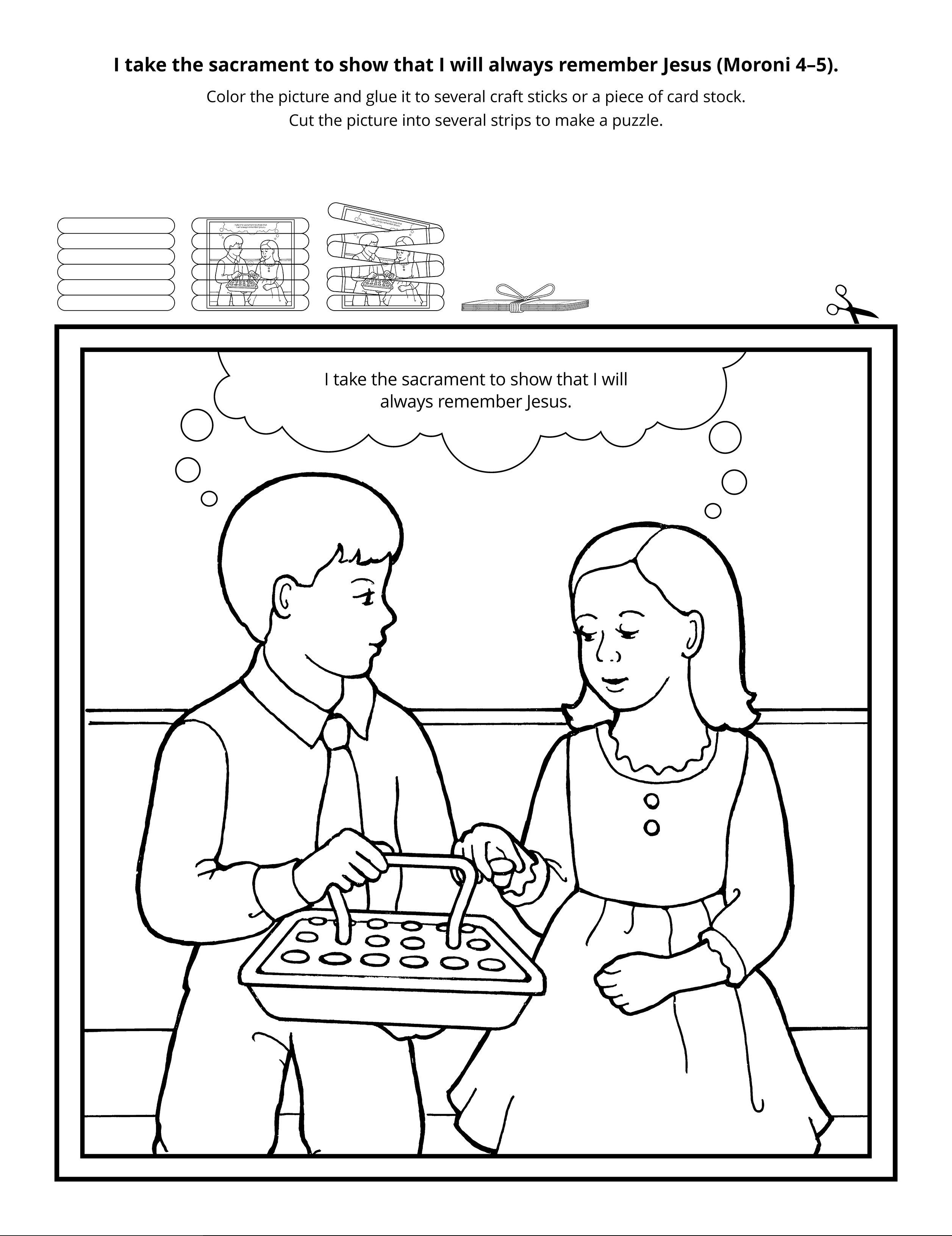 A line drawing of children taking the sacrament.