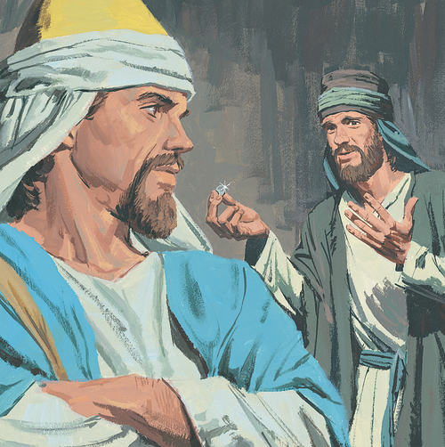 servant showing man money
