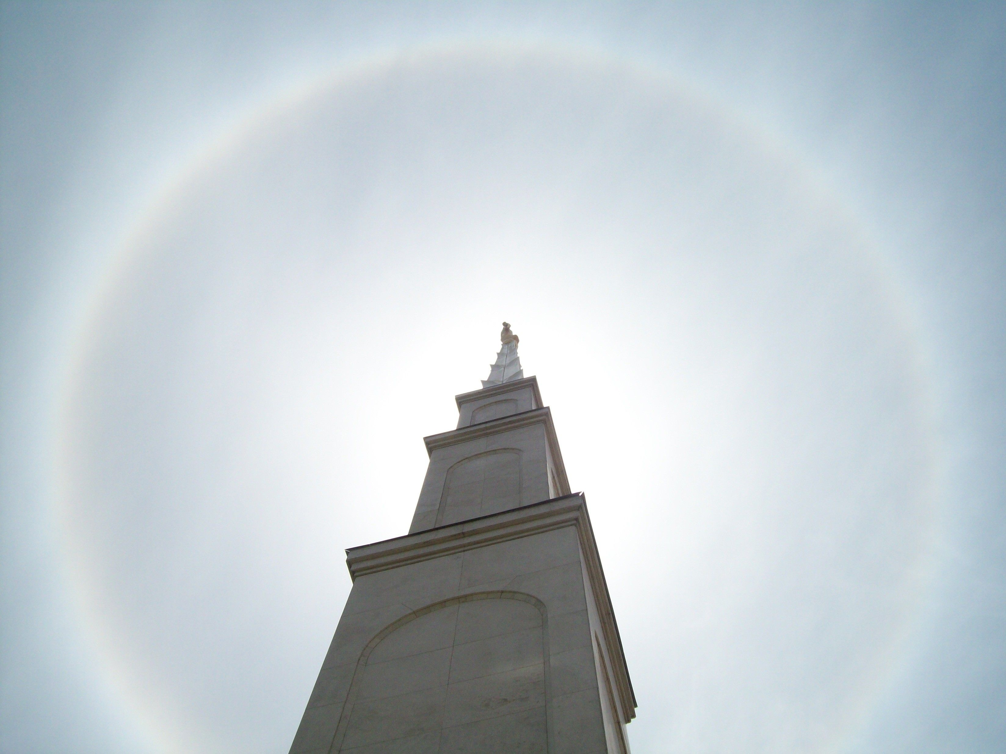 A spire of the Lima Peru Temple in sunshine.