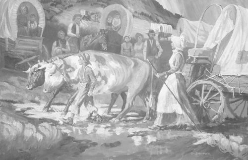 Mary Fielding and Joseph F. Smith Crossing the Plains
