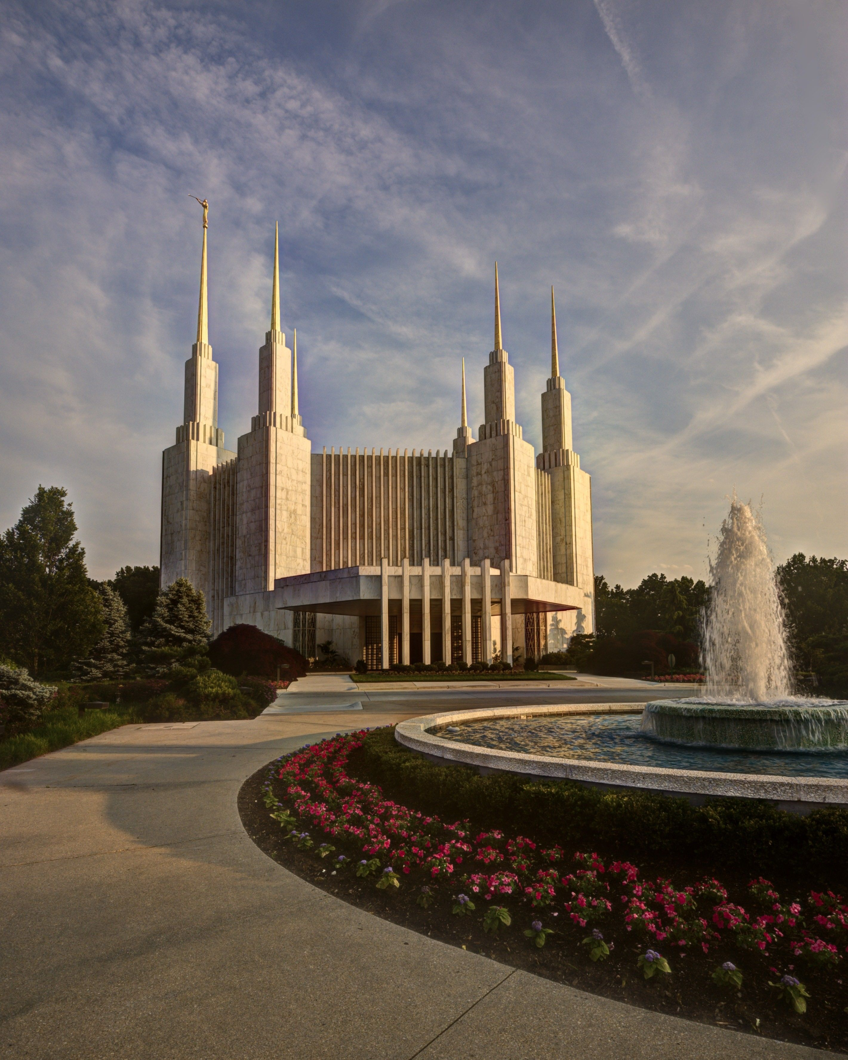 The Washington D.C. Temple, with the fountain, entrance, and flowers.