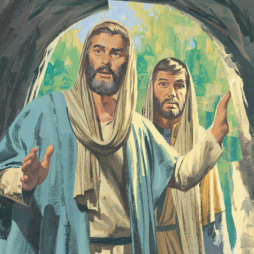 Peter and John at entrance of tomb