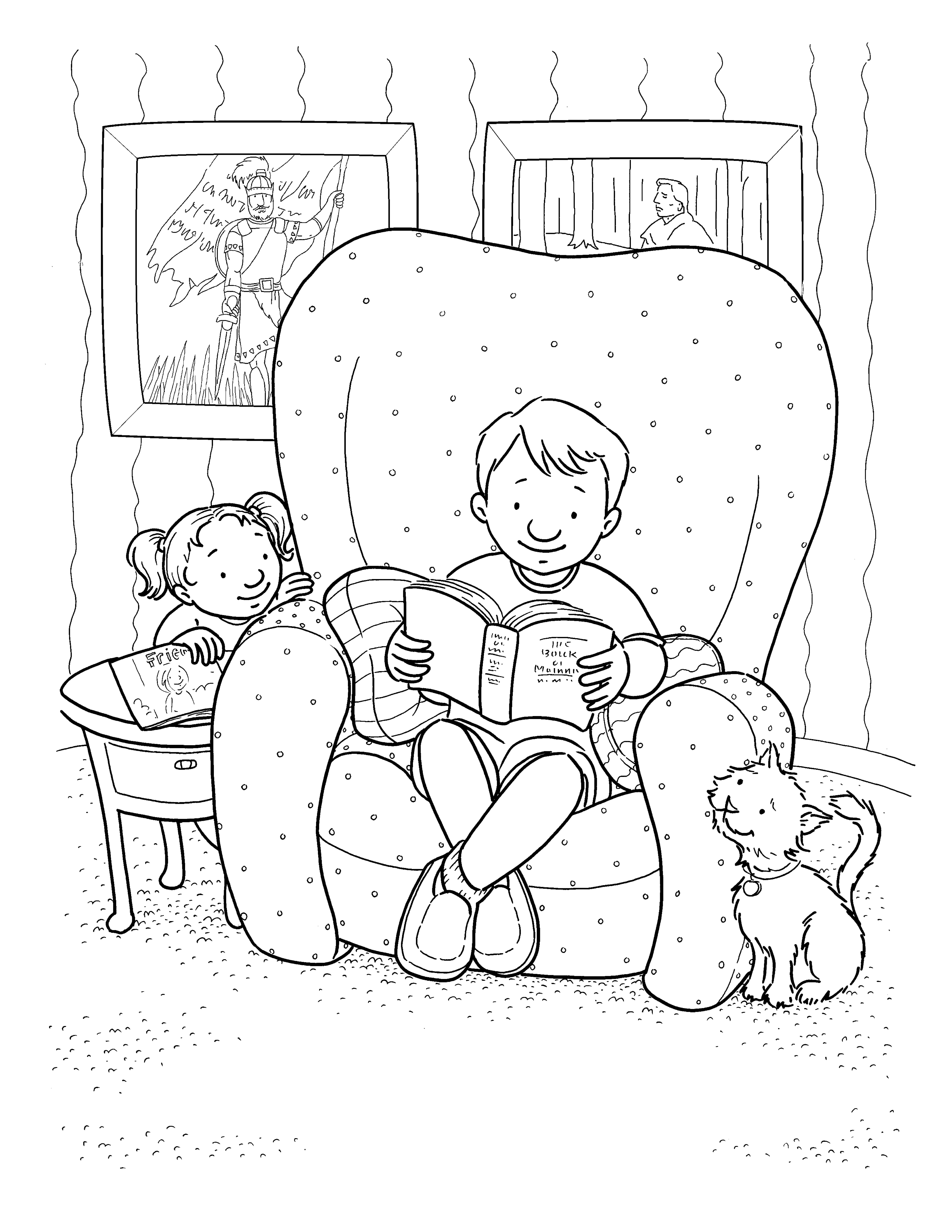 A boy sits in his armchair and reads his scriptures while his sister and his cat look up at him.