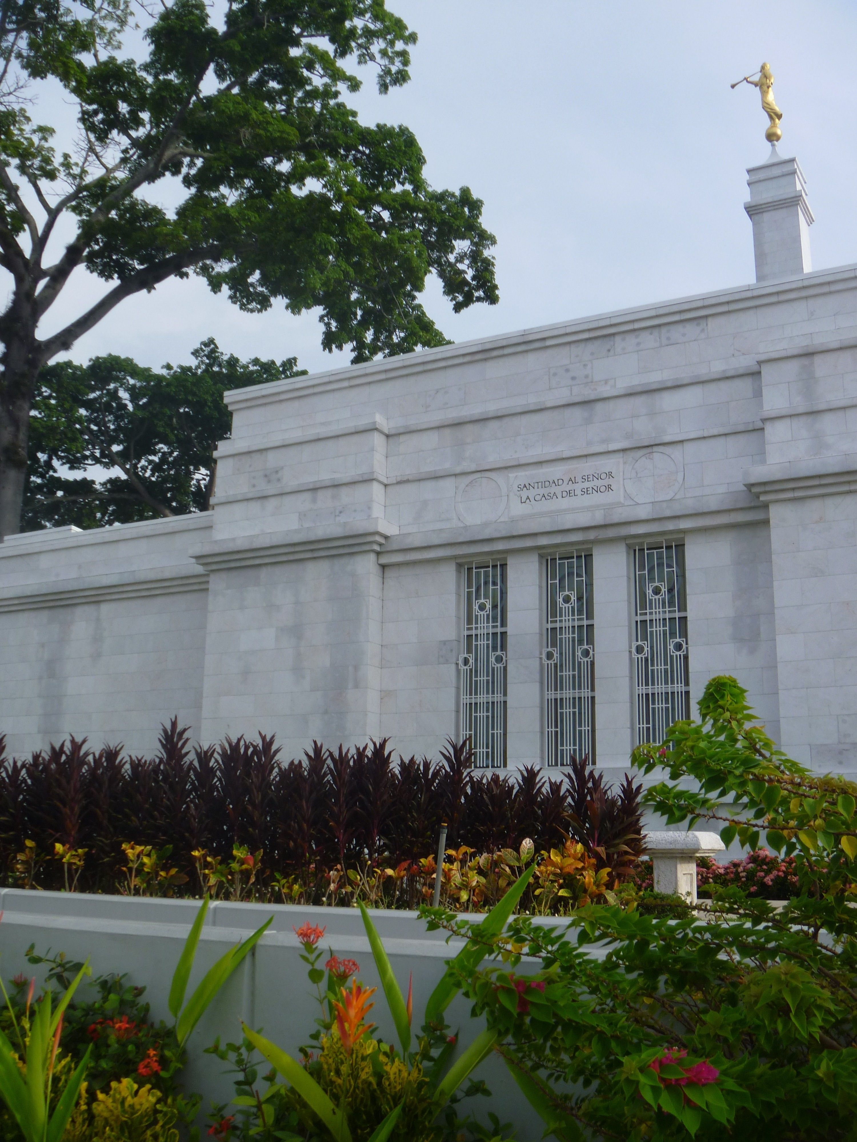 The Villahermosa Mexico Temple, with the windows, spire, and scenery.