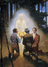 painting of three men kneeling in front of Angel Moroni, who is holding golden plates