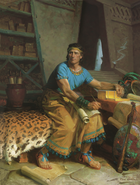 A painting by Tom Lovell of Nephi sitting on a bench, holding a roll of parchment on his lap, and resting one arm on the gold plates lying on a table.