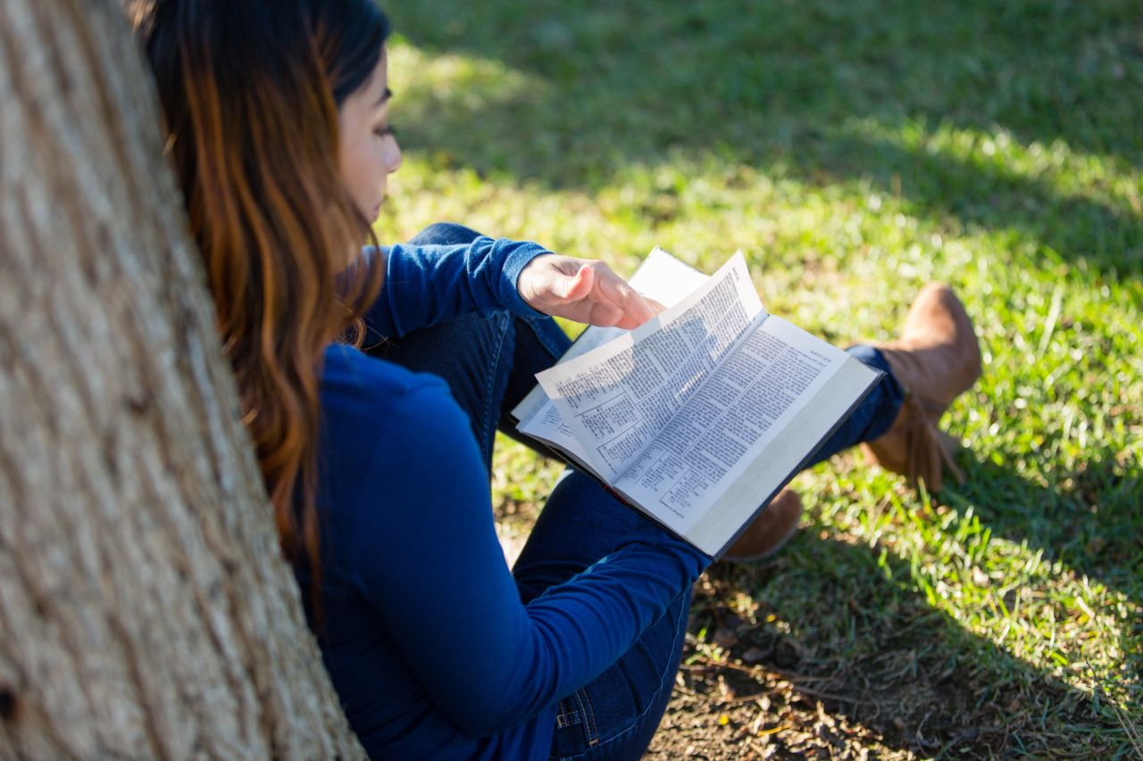 Woman studies the Bible under the shade of a tree