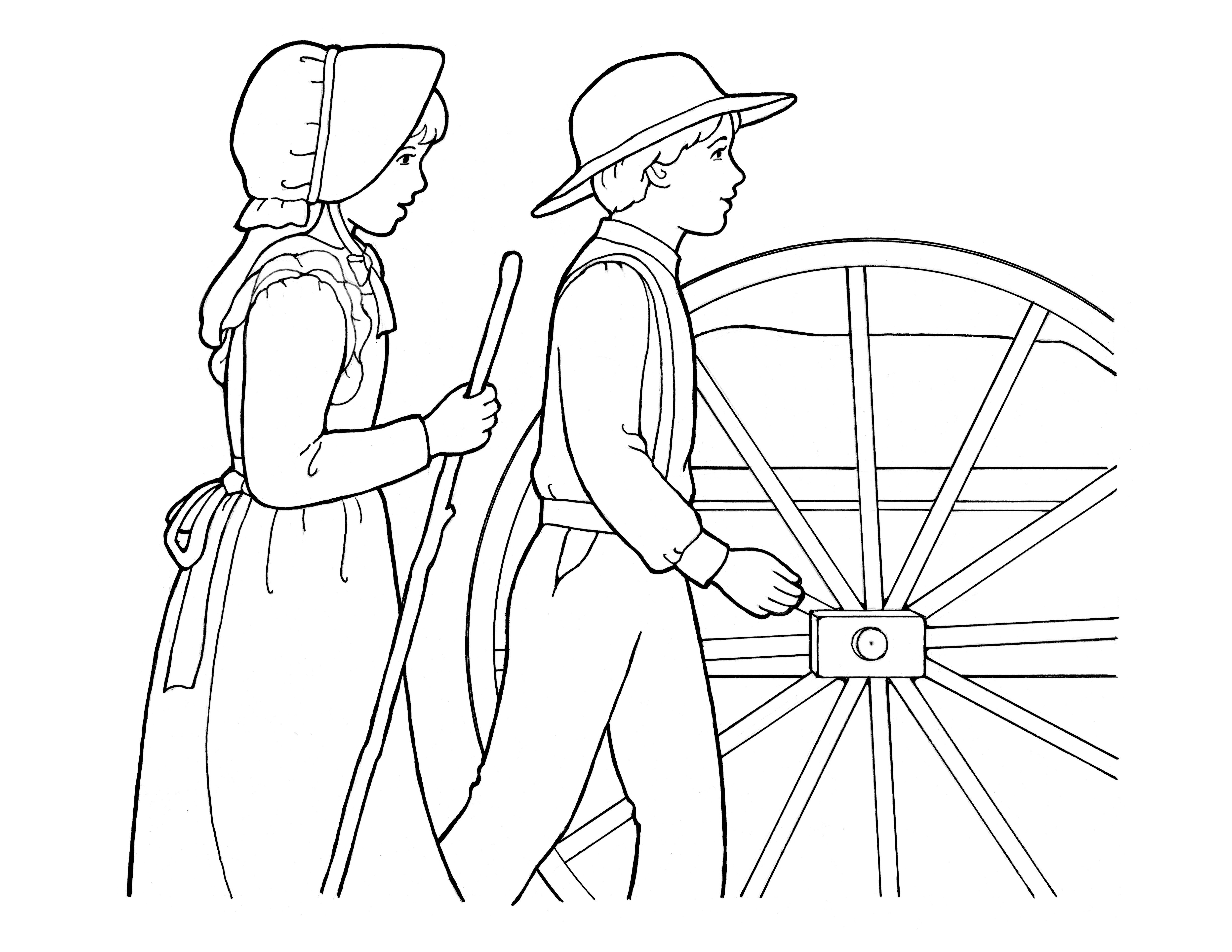 An illustration of a boy and girl pulling a handcart.