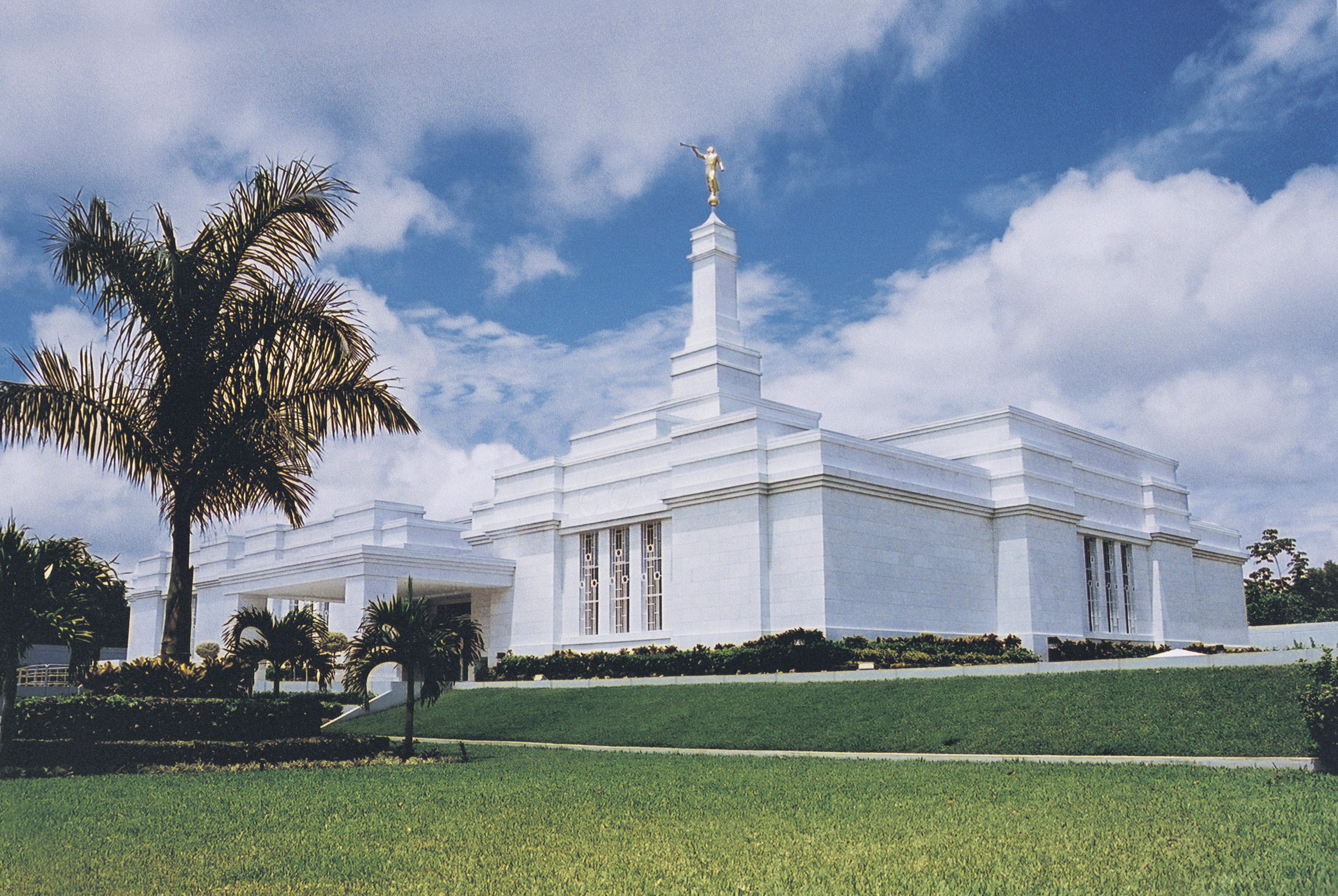 The Villahermosa Mexico Temple, with a large palm tree growing on the grounds.