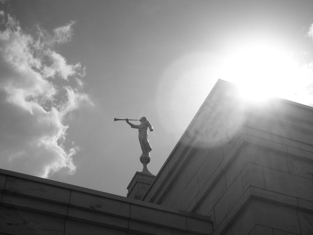 The angel Moroni stands tall on the spire of the Birmingham Alabama Temple.
