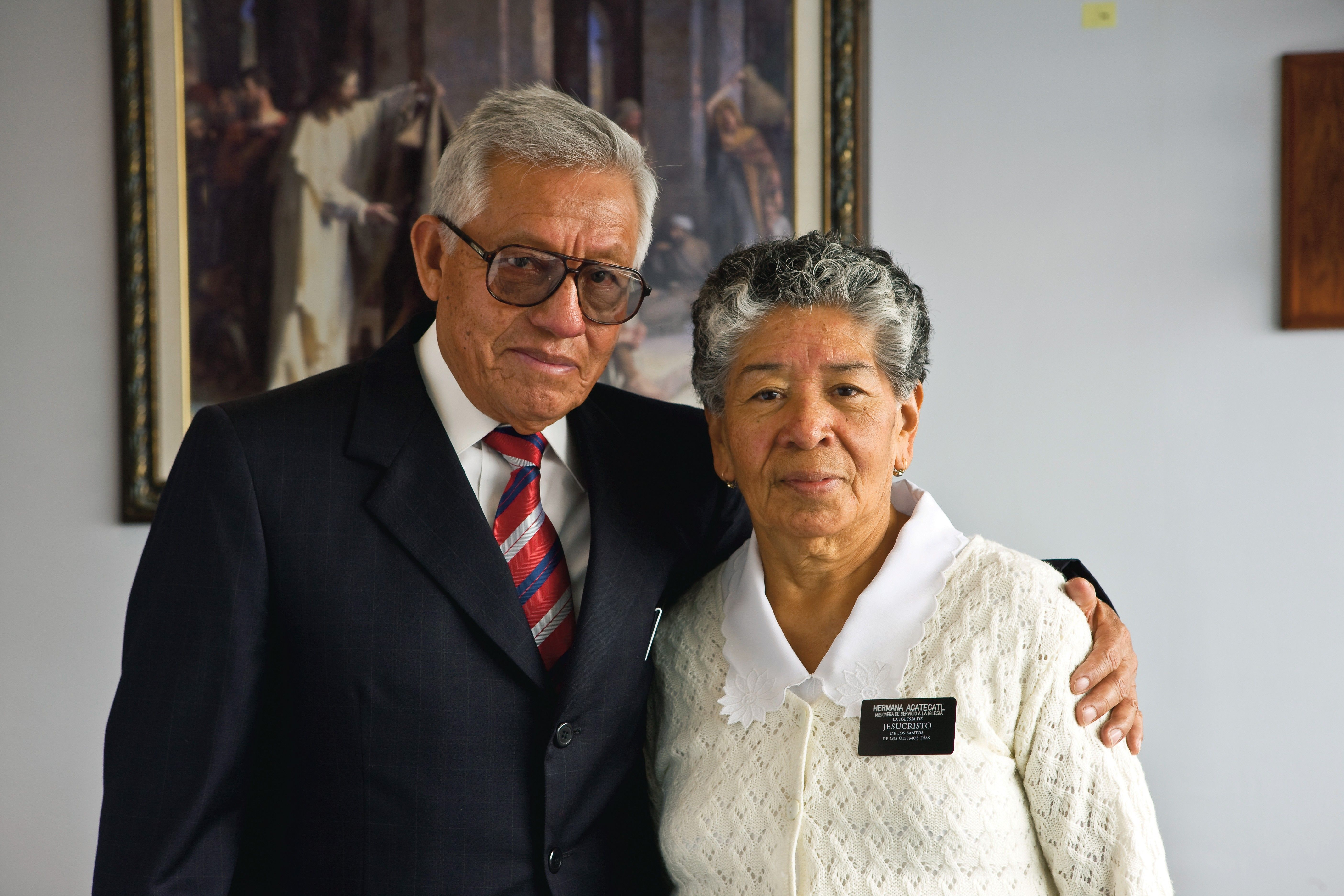 A senior missionary couple in Mexico at the Church employment resource center.