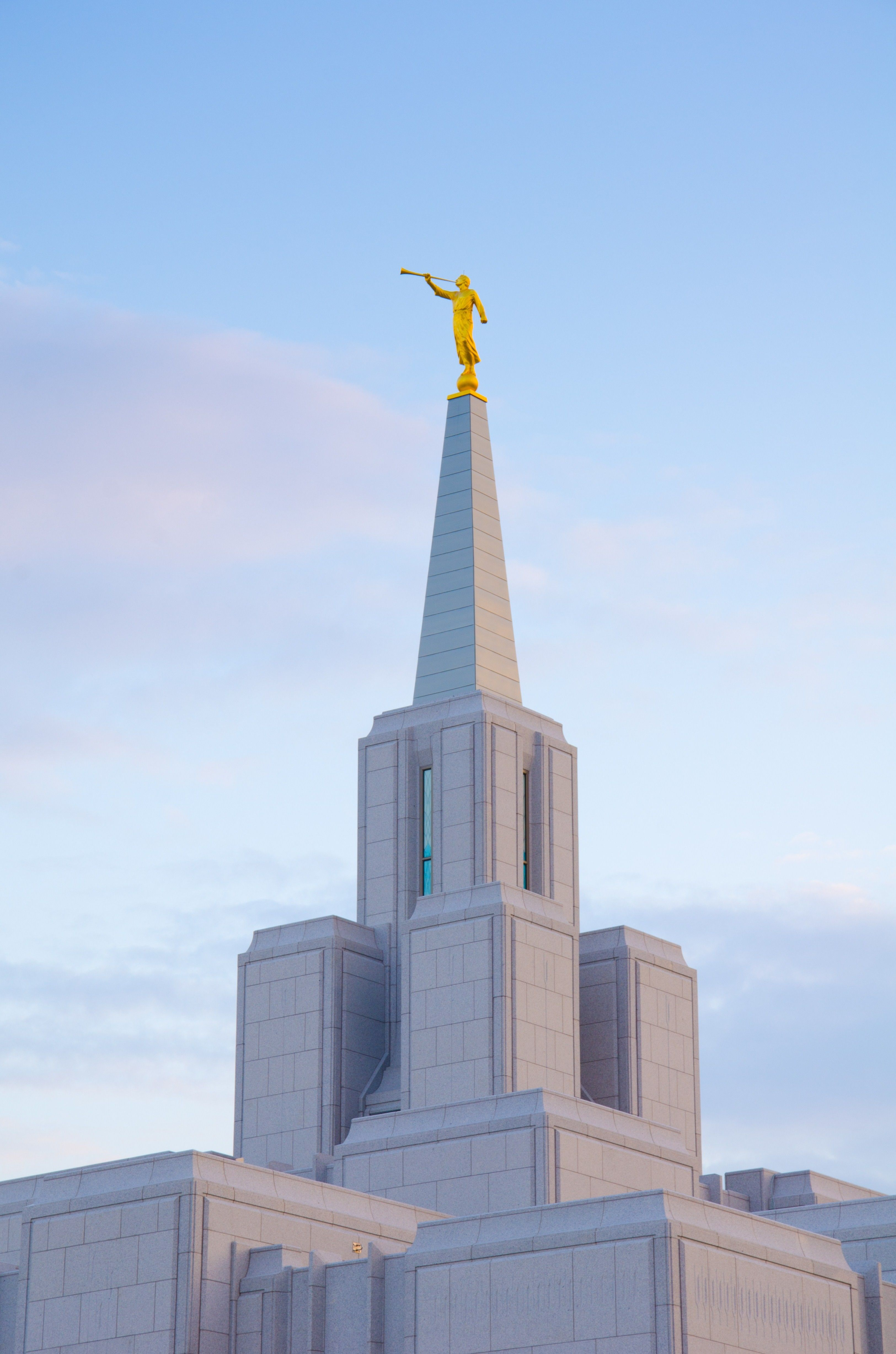 The angel Moroni stands on top of the spire of the Calgary Alberta Temple.
