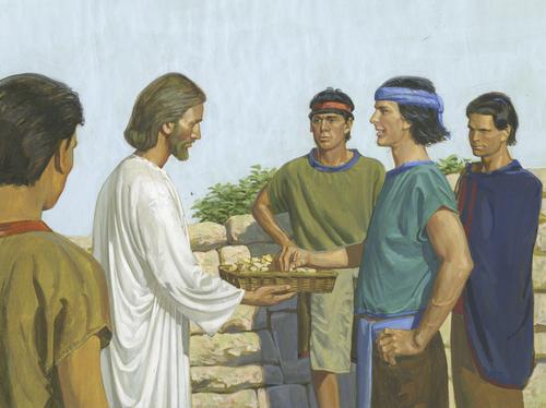 Jesus passing bread