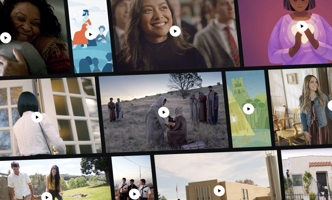 Collage de varias imágenes para videos relacionados con la Iglesia