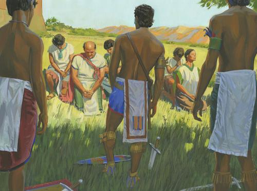 Lamanites standing around people of Ammon