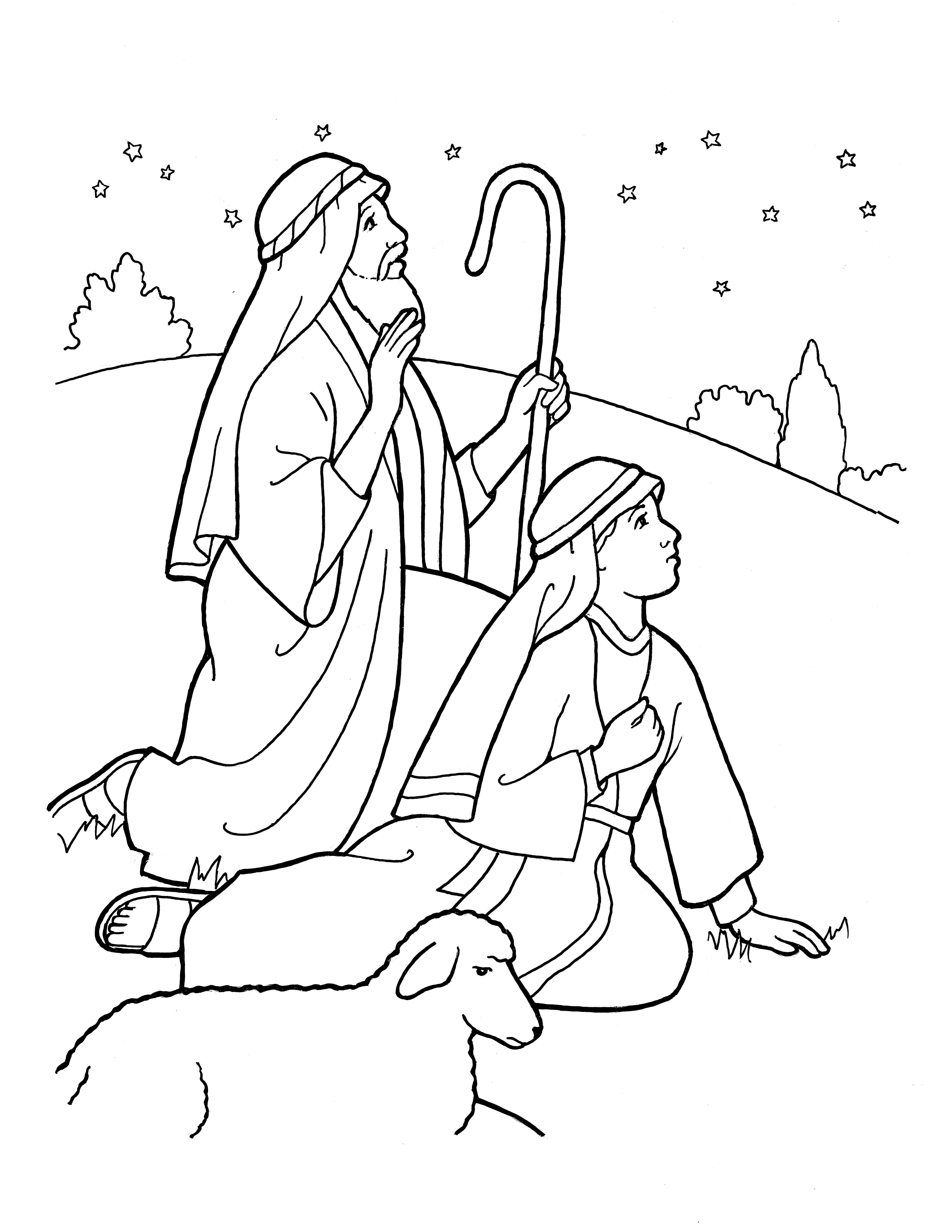 An illustration of the shepherds on Christmas night, from the nursery manual Behold Your Little Ones (2008), page 127.